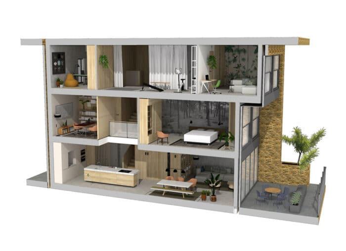 De Maasbode City Villa by bergblick toont een opengewerkt 3D overzicht van alle drie de woonlagen
