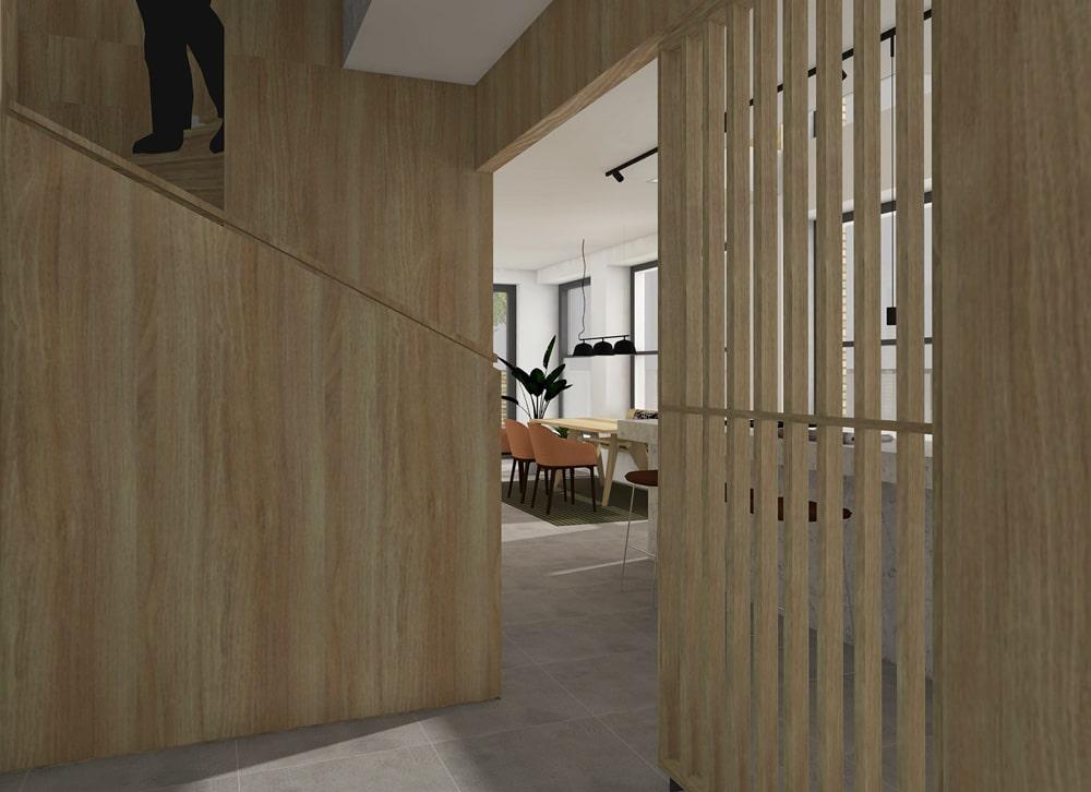 De Maasbode City Villa entree met high-end trap en lamellenwand